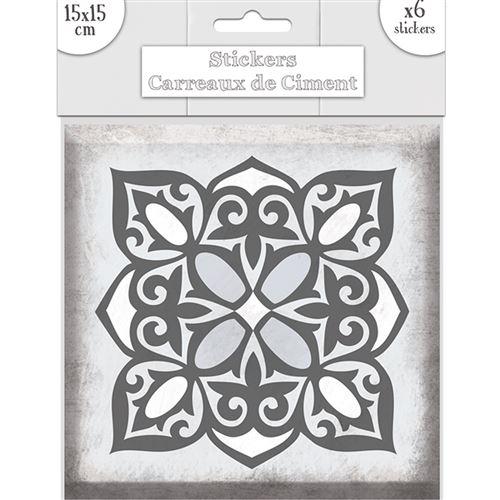 6 stickers carreaux gris 15 x 15 cm