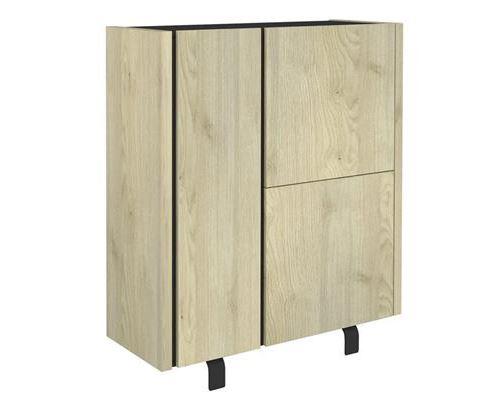 Buffet haut industriel couleur bois et effet béton JEFFREY-L 100 x P 40 x H 125 cm- Marron