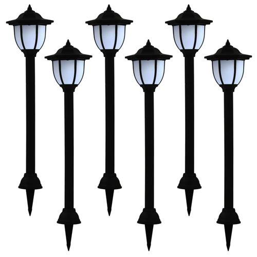 Lampes solaires à LED d'extérieur 6 pcs Noir