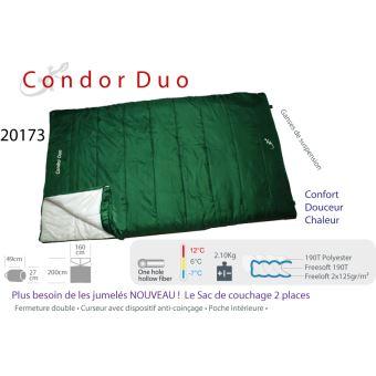 CONDOR DUO - Sac de couchage 2 personnes. 12°C / -7°C Vert - Achat ...