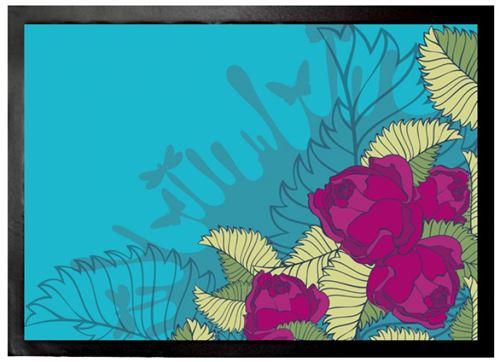 Fleurs Paillasson Essuie-Pieds - Roses Fuchsia (50x70 cm)