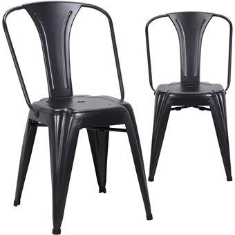 chaise metal industriel BROOK - Lot de 2 chaises bistrot (Noir ... on