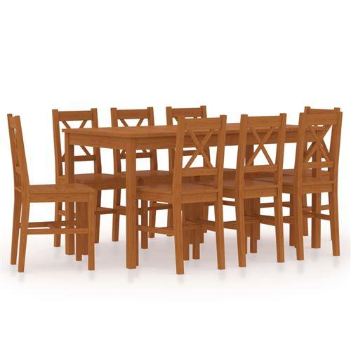 vidaXL Ensemble de salle à manger 9 pcs Pinède Marron miel
