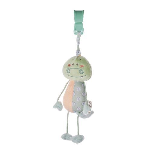 Saro figurine suspendue avec hochet et salamandre vibrante vert