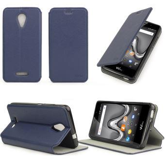 Etui Wiko Tommy 2 bleu luxe Ultra Slim Cuir Style avec stand - Housse Folio Flip Cover coque de protection smartphone 2017 / 2018 - Accessoires ...