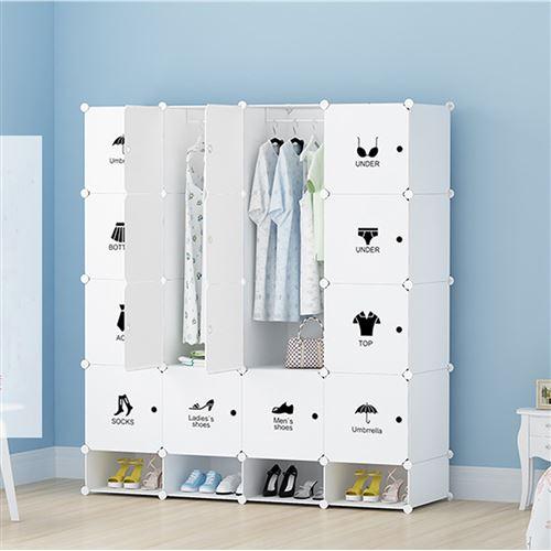 Armoires Etagères Plastiques - Penderie Plastiques, Meuble Rangement 16 Cubes Modulables + 4 Cubes Chaussures, Blanc