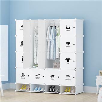 20 Sur Armoires Etageres Plastiques Penderie Plastiques Meuble Rangement 16 Cubes Modulables 4 Cubes Chaussures Blanc Achat Prix Fnac