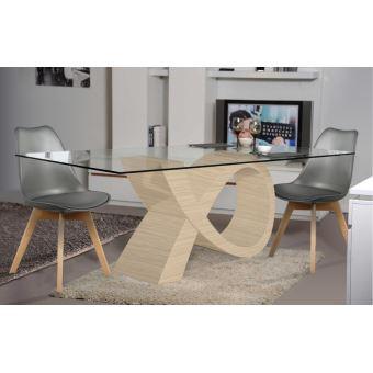 Ensemble Table De Repas Design ALPHA Chêne Clair Et 4 Chaises   Achat U0026  Prix | Fnac