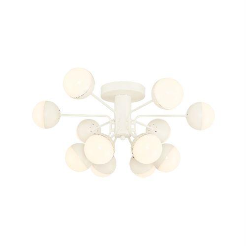HOMEMANIA Lampe de Plafond Kosmos Plafonnier - à Sphère - Murale - Blanc en Métal, 64 x 64 x 30 cm, 12Led x Max 60W, 6000Lumen, 3000K Lumière Blanc Naturel