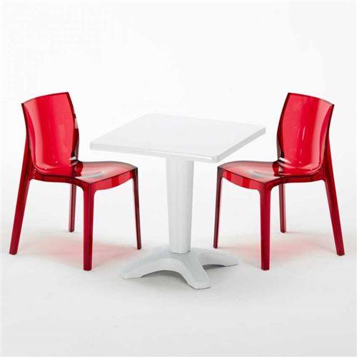 Table et 2 chaises colorées polycarbonate extérieurs Grand Soleil CAFFÈ, Chaises Modèle: Femme Fatale Rouge transparent, Couleur de la table: Blanc