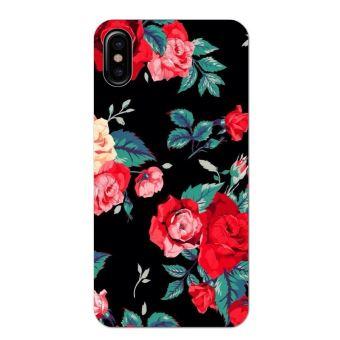 coque iphone x fleure rose rouge