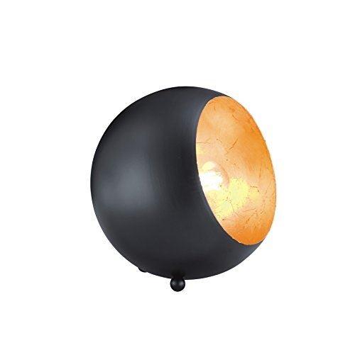 Reality leuchten a + + to e, lampe de table, métal, e14, métal, schwarz matt goldfarbig, 14 x 15 x 15 cm, e14