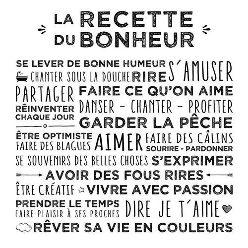 Toile Imprimée Recette 38x38cm Blanc