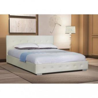 Lit adulte design blanc capitonné IGOR 160x200 cm avec ...