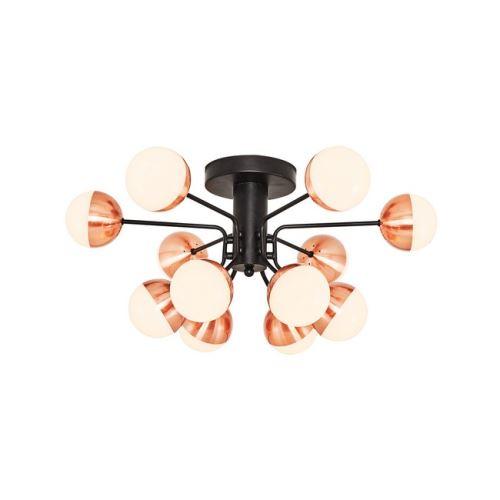 HOMEMANIA Lampe de Plafond Kosmos Plafonnier - à Sphère - Murale - Cuivre, Noir en Métal, 64 x 64 x 30 cm, 12Led x Max 60W, 6000Lumen, 3000K Lumière Blanc Naturel