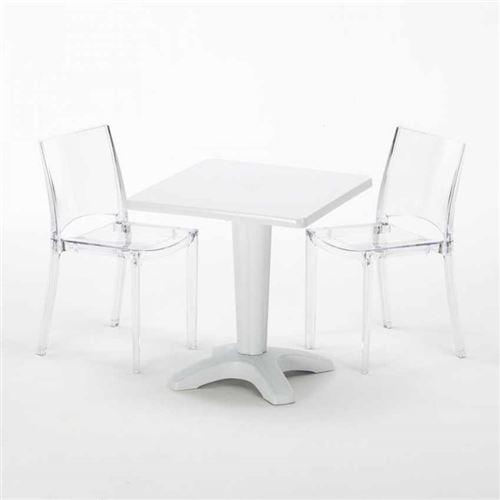 Table et 2 chaises colorées polycarbonate extérieurs Grand Soleil CAFFÈ, Chaises Modèle: B-Side Transparent, Couleur de la table: Blanc