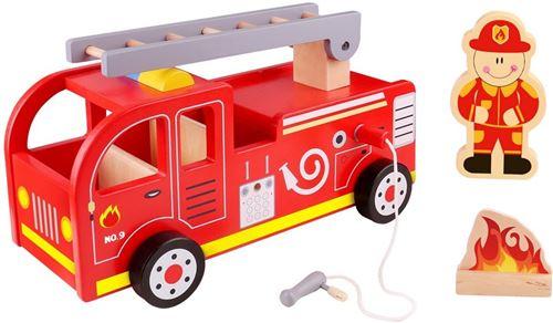Tooky Toy pompiers 29,5 cm bois rouge 3 pièces
