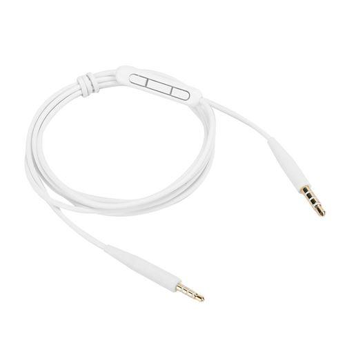 Câble audio 3.5mm à 2.5mm avec Microphone pour OE2iQC25QC35 SoundTrue Casque Blanc