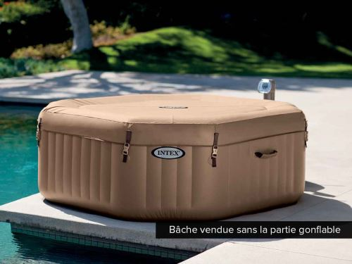 Bache Beige Pour Spa Gonflable Intex Octogonal A Bulles 4 Places