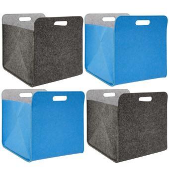 4 Boites De Rangement Feutre 33x33x38 Cm Kallax Panier Etagere Ikea Gris Bleu Achat Prix Fnac