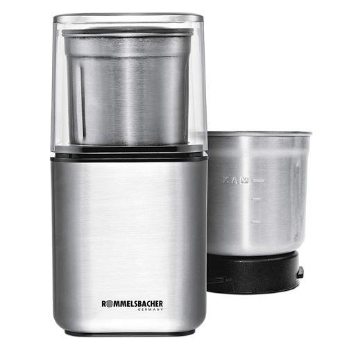 Rommelsbacher EGK 200 & Moulin à café à épices électrique/2 cuve Inox avec interchangeables frappe Couteau & spécial Couteau/200 W/acier inoxydable