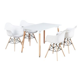 Ensemble Table Blanche & 4 Chaises Blanches avec Accoudoirs Style Scandinave Moda Halo
