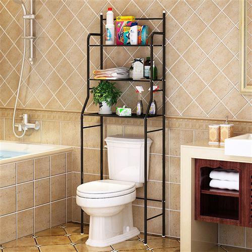 Meuble Dessus de toilettes ou WC salle de bains- Noir - 3 Étagère