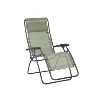Chaise Longue Relax Multiposition Pliante En Acier Et Toile Batyline RSXA Vert