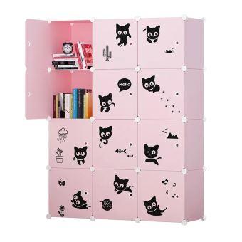 Armoire Etagère Plastique Enfants 12 Cubes Rose, Armoires Meubles de Rangement Pour Vêtements ...