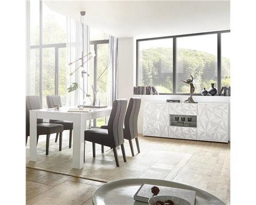 Salle à manger blanc laqué avec bahut 180 ANTONIO - Blanc - L 180 x P 90 x H 79 cm