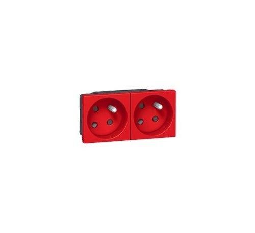 Prise 2P+T Mosaic - Rouge pour identification circuits - Bloc de 2 prises