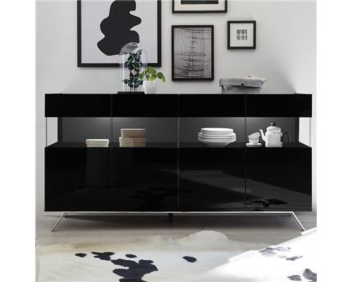 Enfilade 4 portes design noir laqué avec LED ROSINI 6 - Noir - L 184 x P 50 x H 101 cm