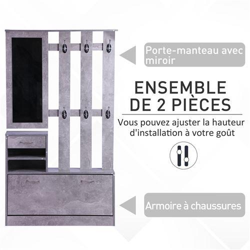 Ensemble de meubles d'entrée design contemporain : meuble chaussures, miroir et panneau porte manteau panneaux de particules noir