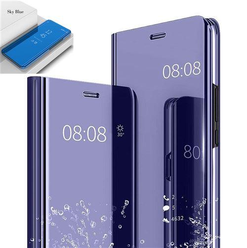 Etui Housse Samsung Galaxy J7 2017 Clear Miroir coque transparent folio Bleu