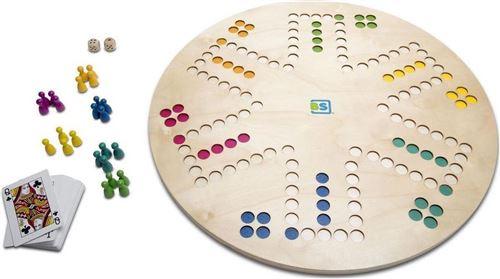 BS Toys jeu de société 3-en-1 Keezen/Goose board 45 cm bois 30 pièces