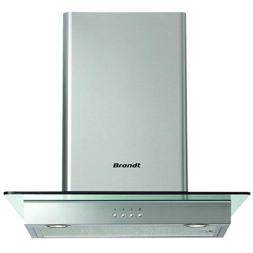 Brandt AD1186X - Hotte - hotte décorative - largeur : 60 cm - profondeur : 60 cm - evacuation & recyclage - inox et verre