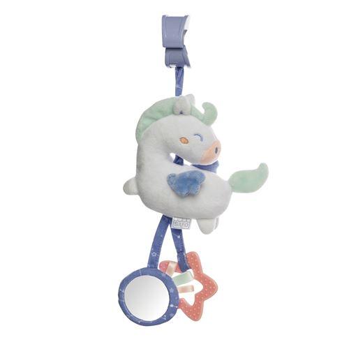 Saro figure suspendue avec hochet et cheval bleu vibrant