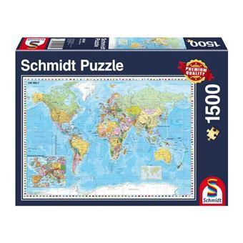 Carte Du Monde Allemagne.Puzzle 1500 Pieces Carte Du Monde En Allemand Schmidt Spiele