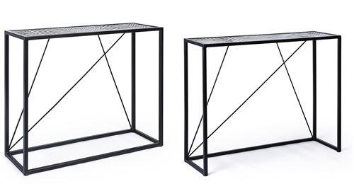 Lot de 2 consoles en acier et bois , coloris noir motif blanc -PEGANE-