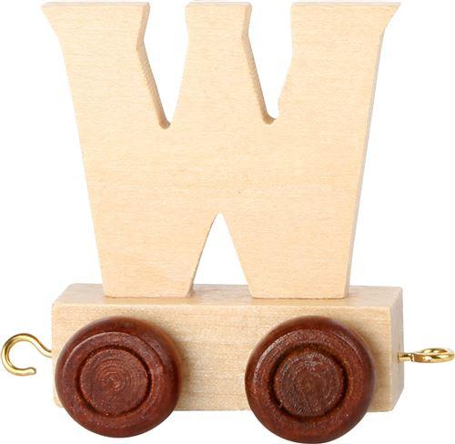 Small Foot chariot de train lettre W bois beige 5 x 3,5 x 6 cm