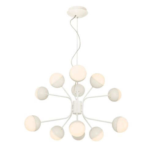HOMEMANIA Lampe à Suspension Kosmos Chandelier - à Sphère - de Plafond - Blanc en Métal, 64 x 64 x 120 cm, 12Led x Max 60W, 6000Lumen, 3000K Lumière Blanc Naturel