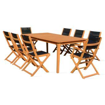 Table de jardin en bois extensible 2 fauteuils et 6 chaises ...