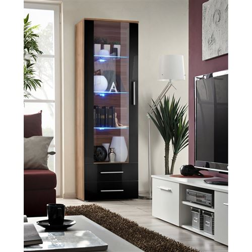 Vitrine NEO I design, coloris prunier et noir brillant, tiroirs noirs brillants + LED.