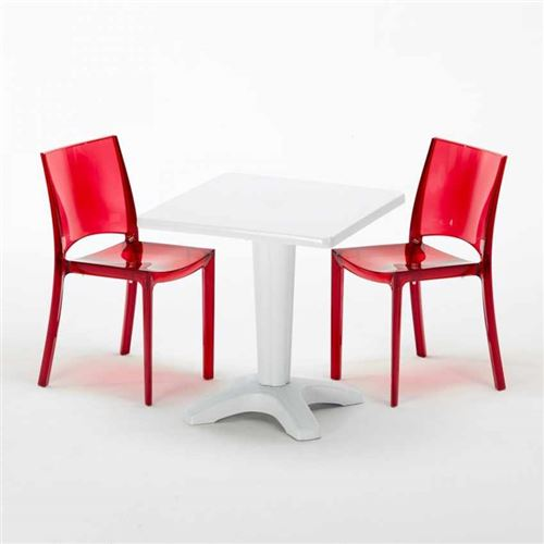 Table et 2 chaises colorées polycarbonate extérieurs Grand Soleil CAFFÈ, Chaises Modèle: B-Side Rouge transparent, Couleur de la table: Blanc