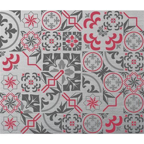 Crédence adhésive en alu Carreaux de ciment - L. 20 x l. 20 cm - Gris - Design CPM - Ciment