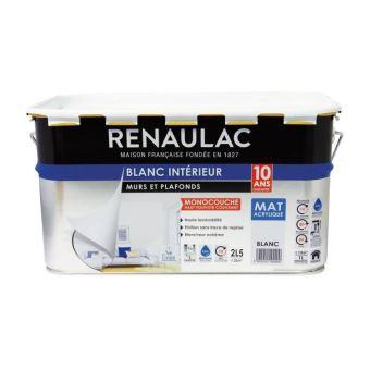 Renaulac Peinture Murs Et Plafonds Monocouche Acrylique 2 5 L Blanc Mat Lessivable