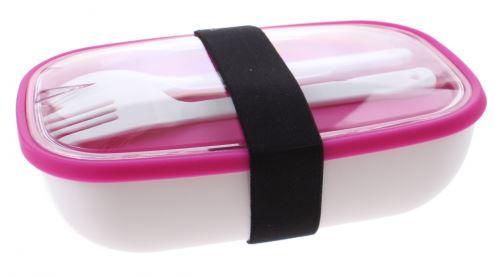 boîte à lunch My Bento avec des couverts 17,5 cm blanc / rose