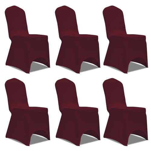 Housse bordeaux extensible pour chaise 6 pièces