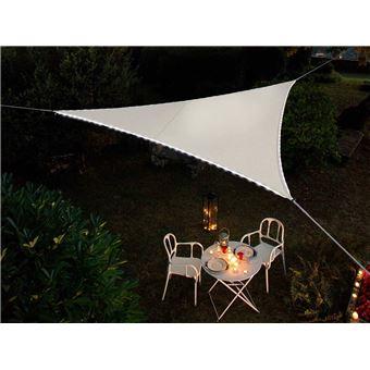 Voile d\'ombrage triangulaire Leds solaires Blanc + Adaptateur