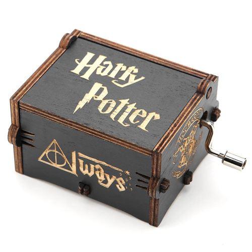 Boîte à musique à manivelle en bois mécanique Noir Harry Potter